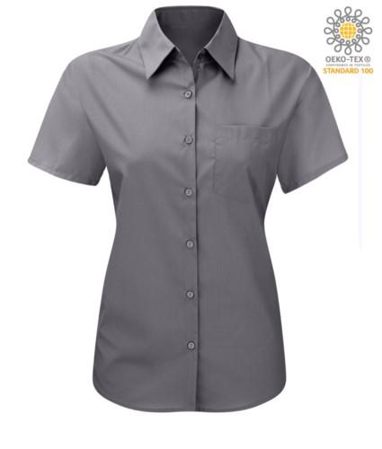 Damenhemd mit kurzen Aermeln fuer die Arbeit Silber