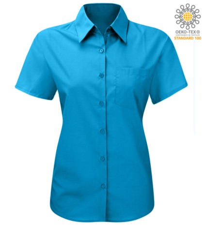 Damenhemd mit kurzen Aermeln fuer die Arbeit Tuerkisblau