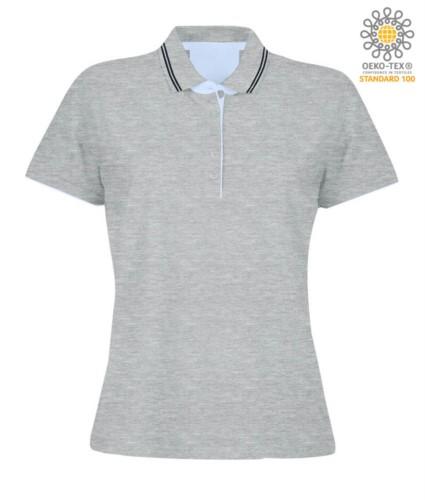 Damen Kurzarm Poloshirt aus Jersey, Rippstrickbuendchen und unterem Aermel mit Doppelpaspel, innenliegende Halsverstaerkung, Farbe melange grau
