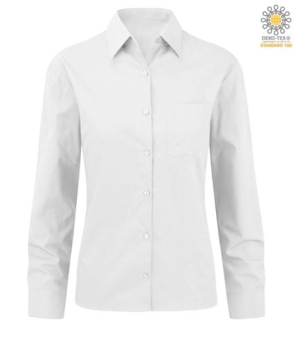 elegantes Hemd Farbe weiss Frauen 100% Baumwolle
