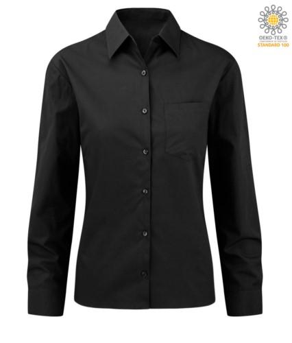elegantes Hemd Farbe Schwarz Frauen 100% Baumwolle