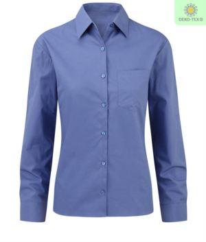 elegantes Hemd Farbe Blau Frauen 100% Baumwolle