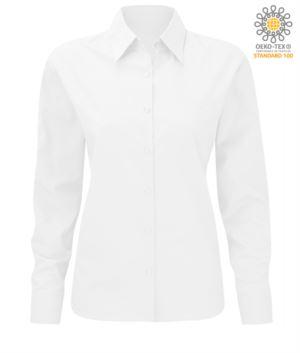 Damen Langarm Polyester und weisses Baumwollhemd