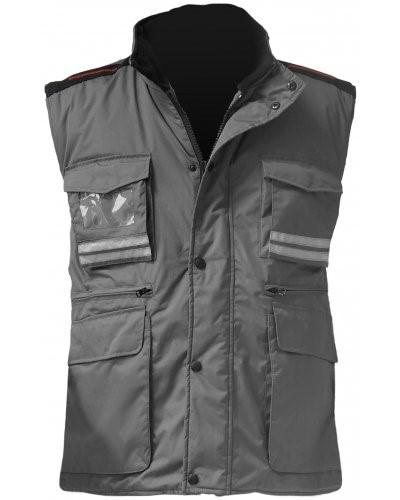Damen Multi-Pocket Weste, Kunststoff-Reissverschluss mit Metallschieber, Seitenschlitze, Farbe grau