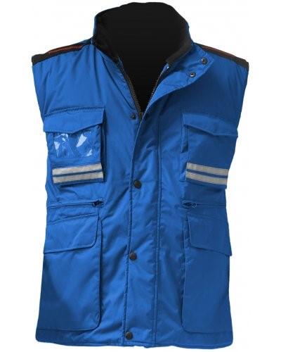 Damen Multi-Pocket Weste, Kunststoff-Reissverschluss mit Metallschieber, Seitenschlitze, Farbe royalblau
