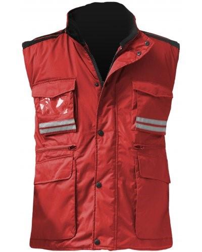 Damen Multi-Pocket Weste, Kunststoff-Reissverschluss mit Metallschieber, Seitenschlitze, Farbe rot