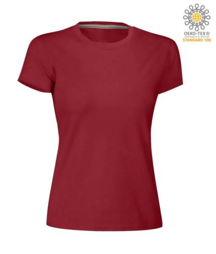 Damen T-Shirt mit kurzem Arm aus Baumwolle mit kurzem Arm und Rundhalsausschnitt, Farbe burgunderrot