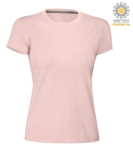 Damen T-Shirt mit kurzem Arm aus Baumwolle mit kurzem Arm und Rundhalsausschnitt, Farbe rosa Schatten
