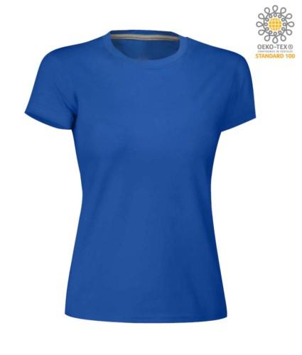 Damen T-Shirt mit kurzem Arm aus Baumwolle mit kurzem Arm und Rundhalsausschnitt, Farbe  Koenigsbalu