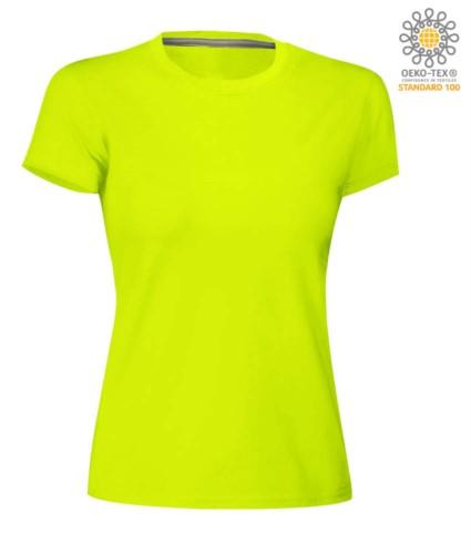 Damen T-Shirt mit kurzem Arm aus Baumwolle mit kurzem Arm und Rundhalsausschnitt, Farbe fluogelb