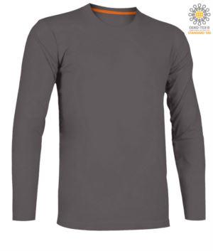 Herren Kurzarm-T-Shirt mit dreifarbigem Detail auf Baumwollaermelboden, Farbe rauch