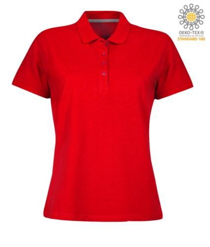 Damen Kurzarm Poloshirt mit Vierknopfverschluss, 100% Baumwolle. rot Farbe