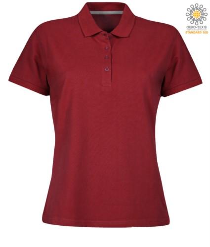 Damen Kurzarm Poloshirt mit Vierknopfverschluss, 100% Baumwolle. bordeux Farbe