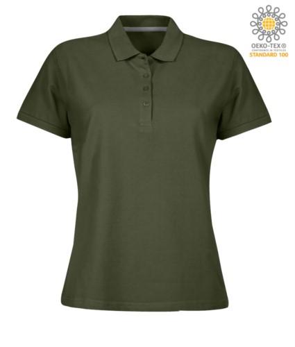 Damen Kurzarm Poloshirt mit Vierknopfverschluss, 100% Baumwolle. militaer grün Farbe