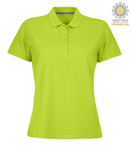 Damen Kurzarm Poloshirt mit Vierknopfverschluss, 100% Baumwolle. sauergrün Farbe