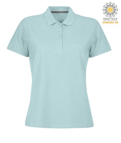 Damen Kurzarm Poloshirt mit Vierknopfverschluss, 100% Baumwolle. aquamarin Farbe