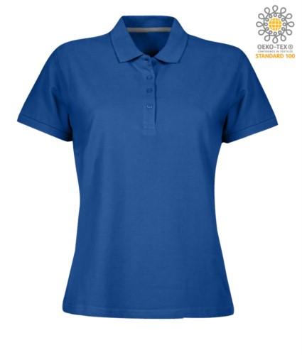 Damen Kurzarm Poloshirt mit Vierknopfverschluss, 100% Baumwolle. koenigsblau Farbe