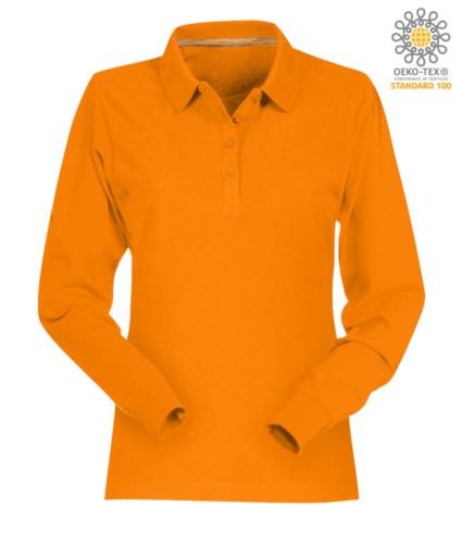 Langaermeliges Poloshirt aus Baumwolle und Pique in orange Farbe