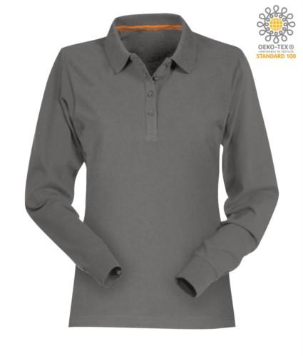 Langaermeliges Poloshirt aus Baumwolle und Pique in aschgrau Farbe