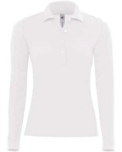Damen Langarm Poloshirt 100% gekaemmte Baumwolle, Farbe weiss