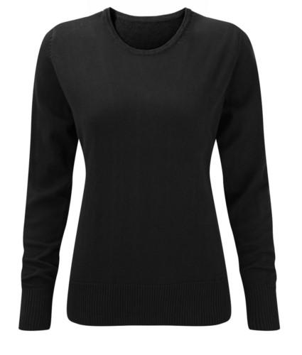 Damenpullover Rundhalsausschnitt, lange Aermel, Rippen an den Unterkanten und Manschetten, Baumwolle und Acrylgewebe farbe schwarz
