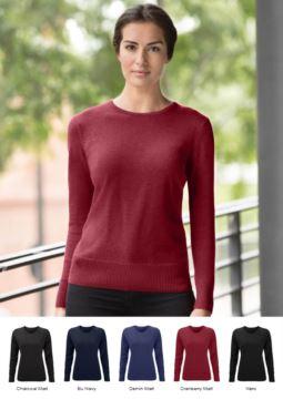 Damenpullover Rundhalsausschnitt, lange Aermel, Rippen an den Unterkanten und Manschetten, Baumwolle und Acrylgewebe