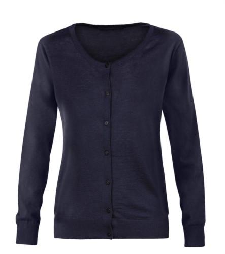 Damenjacke mit Rundhalsausschnitt, Rippstrickbuendchen, Manschetten und Bund, Knopfleiste vorne, Wolle und Polyacrylgewebe. farbe marine blau