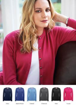 Damen Strickjacke mit Rundhalsausschnitt, Rippen, Saum und Aermelbuendchen, zentrale Knopfleiste, Baumwoll und Acrylgewebe