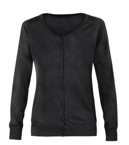Damenjacke mit Rundhalsausschnitt, Rippstrickbuendchen, Manschetten und Bund, Knopfleiste vorne, Wolle und Polyacrylgewebe. farbe dunkel grau
