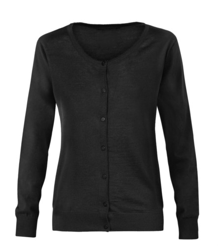 Damenjacke mit Rundhalsausschnitt, Rippstrickbuendchen, Manschetten und Bund, Knopfleiste vorne, Wolle und Polyacrylgewebe. farbe schwarz