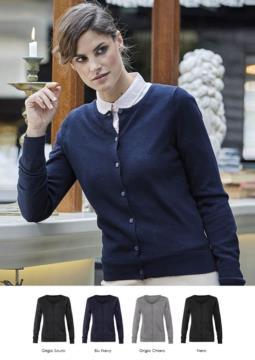 Damenjacke mit Rundhalsausschnitt, Rippstrickbuendchen, Manschetten und Bund, Knopfleiste vorne, Wolle und Polyacrylgewebe.