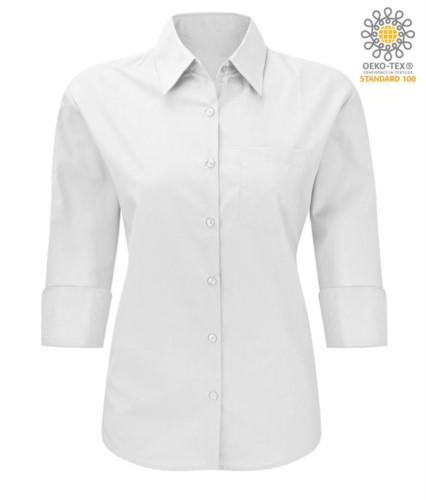 3/4 Aermel arbeiten einheitliches Hemd Farbe Weiss