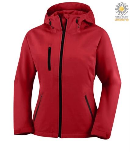 Damen Zweilagige Softshelljacke mit Kapuze, wasserdicht. Farbe: Rot