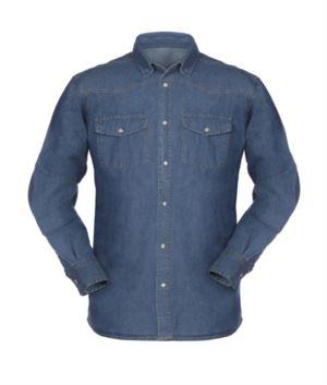 Herren Langarm Jeans Arbeitshemd 100% Baumwolle
