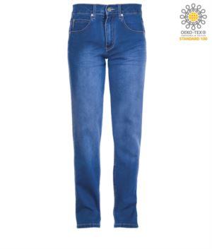 Elastische Arbeitshose in Jeans, mehrteilig, Farbe hellblau
