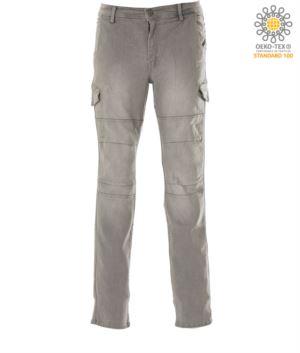 Arbeitshose in Stretchjeans mit mehreren Taschen, Farbe grau