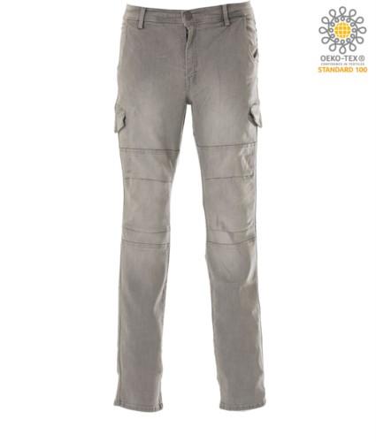 Elasticized Multitaschen Jeans Hose