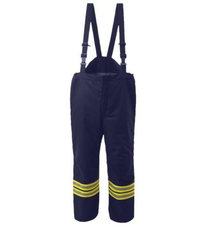 Feuerhose, Brettelle nicht abnehmbar, elastische Taille, Schnellverschluss, Farbe marineblau. EN 469 zertifiziert