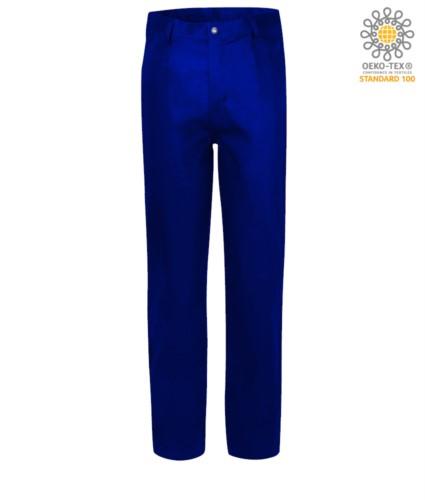 Feuerfeste Hose, Reissverschluss, zwei Vordertaschen, Bandmasstasche, koenigsblau farben. CE zertifiziert, NFPA 2112, EN 11611, EN 11612:2009, ASTM F1959-F1959M-12