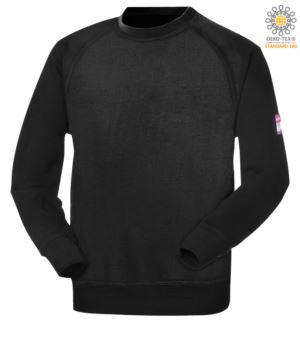 Feuerfestes und antistatisches Rundhalssweatshirt, Raglanaermel und Handgelenk mit elastischem, modaflame Gewebe, zertifiziert nach ASTMF1959-F1959M-12, EN 1149-5, CEI EN 61482-1-2:2008, EN 11612:2009, Farbe schwarz