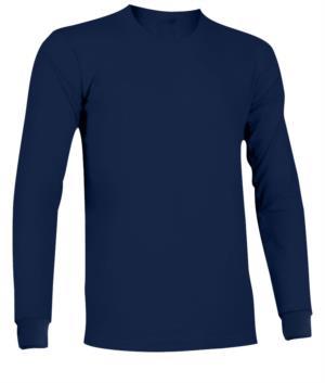 Langaermeliges, feuerhemmendes und antistatisches T-Shirt mit elastischem Rundhalsausschnitt und Manschetten, Farbe Marineblau. Zertifiziert nach EN 1149-5, EN 11612:2009