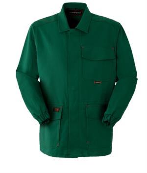 Feuerfeste Jacke, verdeckter Knopfverschluss, geschlossener Kragen, zwei Taschen und eine Tasche, grüne Farbe. CE-zertifiziert, EN 11611, EN 11612:2009