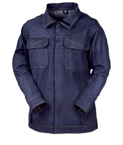 Feuerfeste Jacke, zwei Front und Brusttaschen, Druckknopfverschluss, Hinterlueftung, marineblau. CE-zertifiziert, EN 11611, EN 11612:2009