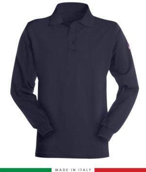 Langarm-Poloshirt, feuerfest und antistatisch, Made in Italy, Zweiknopfverschluss, zertifiziert nach EN 1149-5, EN 11612:2009, EN 13688:2013, Farbe blau