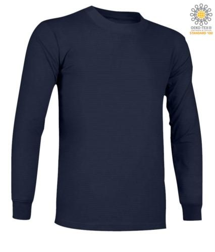 Langaermeliges, feuerhemmendes und antistatisches Langarm-T-Shirt, Rundhalsausschnitt, elastische Buendchen, zertifiziert nach ASTM F1959-F1959M-12, EN 1149-5, CEI EN 61482-1-2:2008, EN 11612:2009, Farbe marineblau