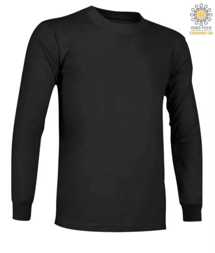 Langaermeliges, feuerhemmendes und antistatisches Langarm-T-Shirt, Rundhalsausschnitt, elastische Buendchen, zertifiziert nach ASTM F1959-F1959M-12, EN 1149-5, CEI EN 61482-1-2:2008, EN 11612:2009, Farbe svhwarz