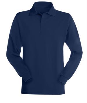 Langaermeliges, flammhemmendes und antistatisches Poloshirt, Kragen mit 3 Knoepfen und elastischen Bündchen, Farbe marineblau, zertifiziert nach EN 1149-5, EN 11612:2009