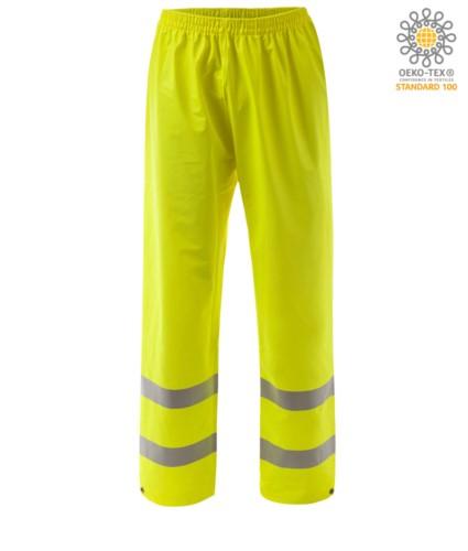 Feuerfeste Hose mit hoher Sichtbarkeit, verstellbarer Boden mit Knopf, Doppelband an der Unterseite des Beines, elastische Taille, zertifiziert nach EN 343:2008, UNI EN 20471:2013, EN 1149-5, EN 13034, UNI EN ISO 14116:2008, Farbe gelb