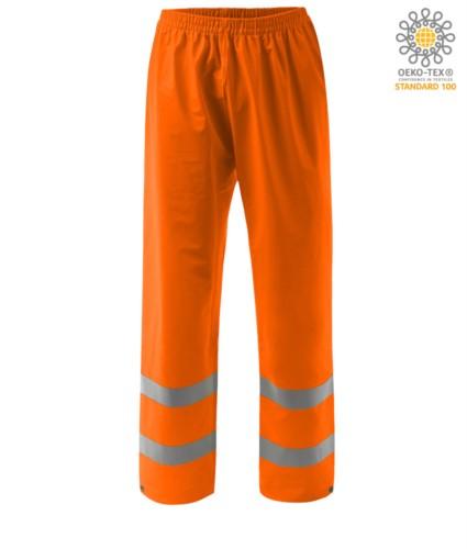 Feuerfeste Hose mit hoher Sichtbarkeit, verstellbarer Boden mit Knopf, Doppelband an der Unterseite des Beines, elastische Taille, zertifiziert nach EN 343:2008, UNI EN 20471:2013, EN 1149-5, EN 13034, UNI EN ISO 14116:2008, Farbe orange