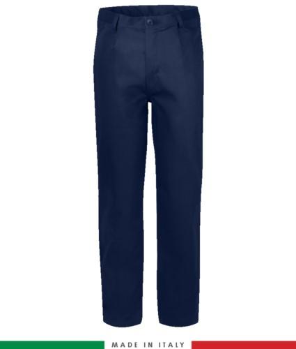 Zweifarbige Multipro Hose, mehrteilig, farbiges Profil an den Taschen, Made in Italy, zertifiziert nach EN 11611, EN 1149-5, EN 13034, CEI EN 61482-1-2:2008, EN 11612:2009, Farbe marineblau
